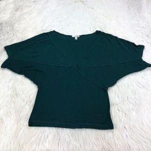 Bordeaux Forest Green Dolman Sleeve Knit Top
